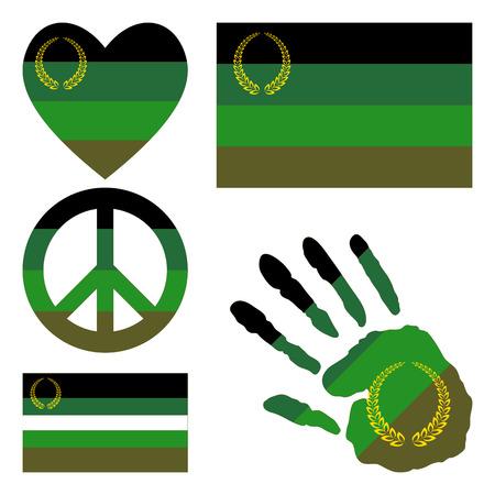 militaire sexy: Drapeau militaire ou Uniform fiert�, coeur, signe pacifique, symbole d'�galit� et empreinte de la main pour vous concevez. Collection de symboles de la culture gay. Illustration