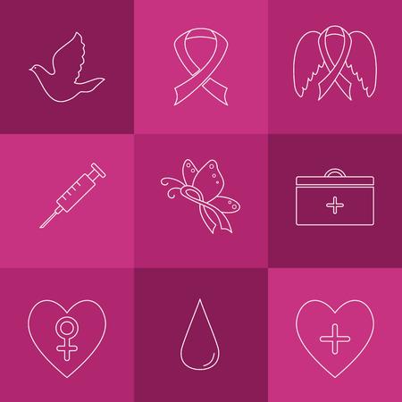 rak: Kolekcja etykiet z elementami świadomości raka piersi dla projektu. Wektor ręcznie rysowane ikony w stylu nowoczesnej linii. Ilustracja