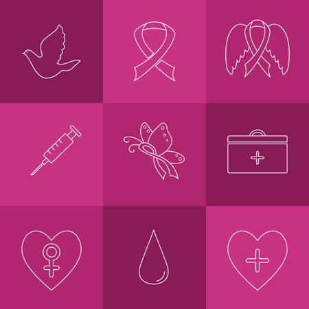 Collection of labels with breast cancer awareness elements for your project.  Vector hand drawn icons in modern line style.