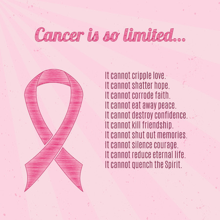 Pink breast cancer awareness ribbon over pink, vintage background with inspirational quotes.