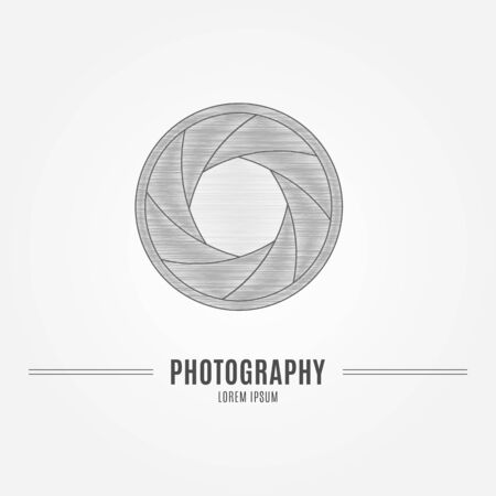 shutter aperture: Camera shutter aperture - branding identity element, isolated on white background. Logo design concept. Isolated high quality vector graphic.