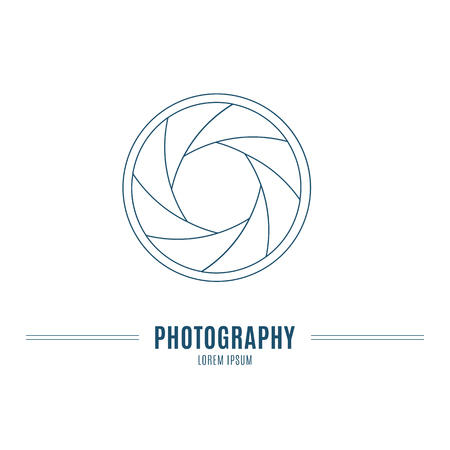 accessory: Camera shutter aperture - branding identity elementin in modern mono line style on isolated white background. Logo design concept. Isolated high quality vector graphic.