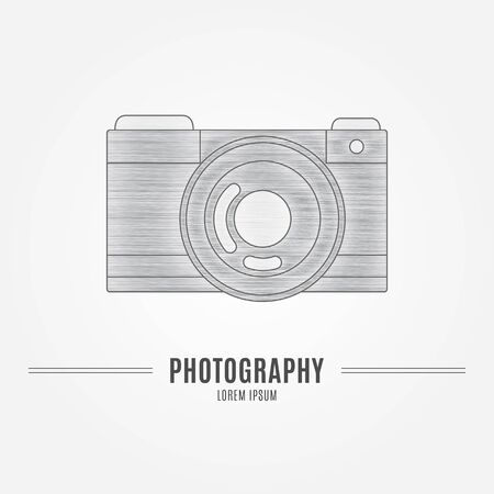 Old camera - branding identity element, isolated on white background. Logo design concept. Isolated high quality vector graphic.
