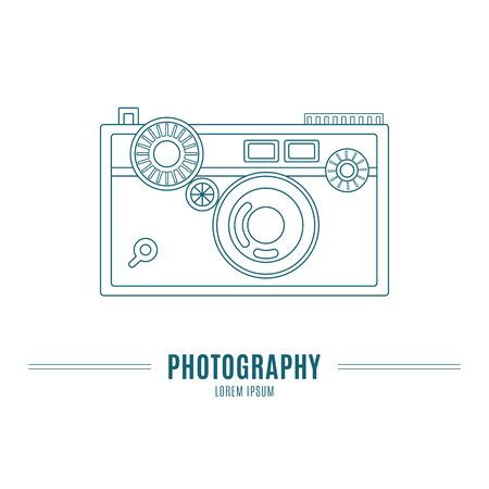 Old camera - branding identity elementn in modern mono line style on isolated white background. Logo design concept. Isolated high quality vector graphic.