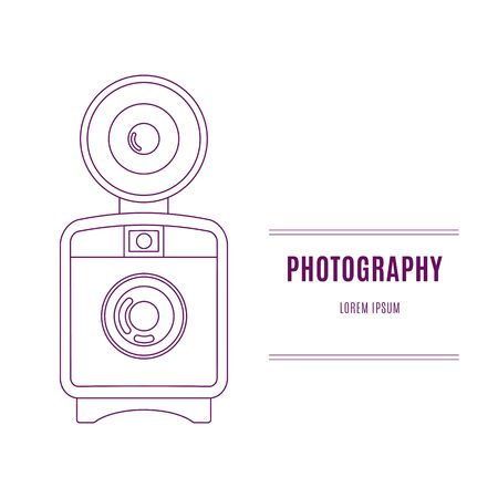 film industry: Old camera - branding identity elementn in modern mono line style on isolated white background. Logo design concept. Isolated high quality vector graphic.