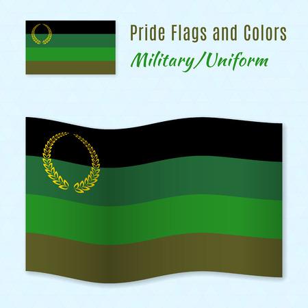 militaire sexy: Drapeau de fiert� militaire ou en uniforme avec des couleurs correct, tous deux encore et en agitant. Gay symbole de la culture.