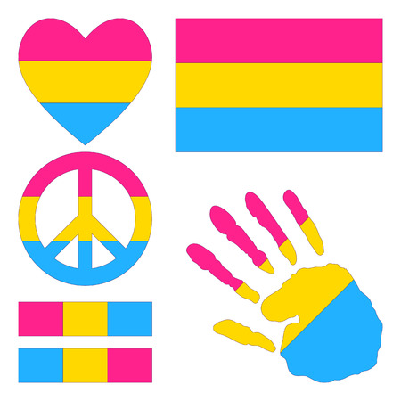 romantic sex: Pansexual pride flag, heart, pacific sign, equality symbol and hand print for you design. Collection of gay culture symbols.