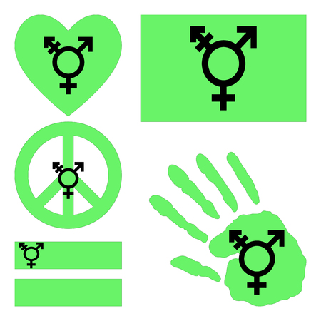 sex discrimination: Israeli transgender and genderqueer pride flag, heart, pacific sign, equality symbol and hand print for you design. Collection of gay culture symbols. Illustration