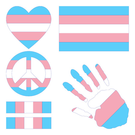 sex discrimination: Transgender pride flag, heart, pacific sign, equality symbol and hand print for you design. Collection of gay culture symbols.