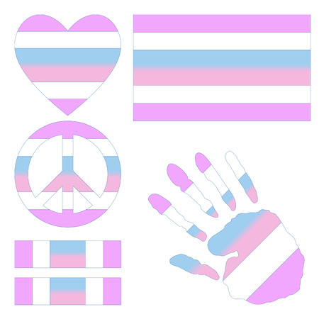 sex discrimination: Intersex pride flag, heart, pacific sign, equality symbol and hand print for you design. Collection of gay culture symbols.