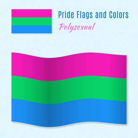 sex discrimination: Polysexual pride flag with correct color scheme, both still and waving. Gay culture symbol. Illustration
