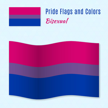 romantic sex: Bisexual pride flag with correct color scheme, both still and waving. Gay culture symbol.