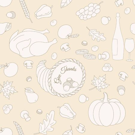 Set of hand drawn Thanksgiving elements made in modern line style