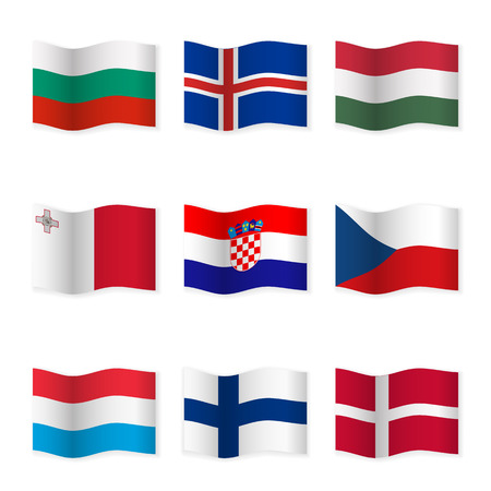 Waving flags of different countries. Flag icons on white