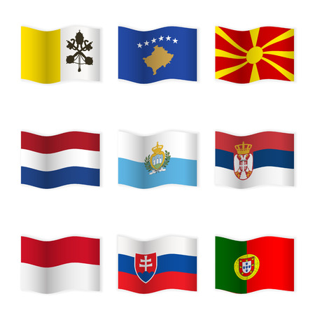 Waving flags of different countries. Imagens - 45696684