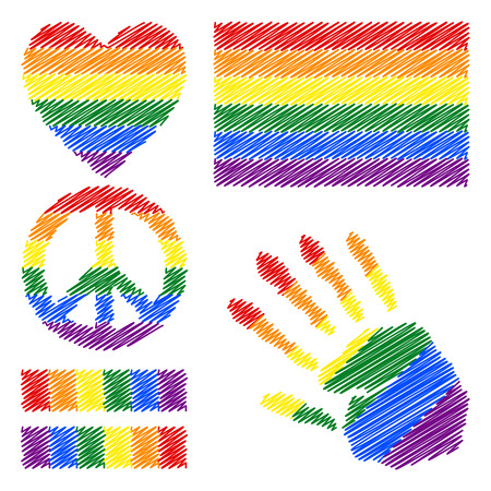 fetishes: Six-color rainbow gay pride flag, heart, pacific sign, equality symbol and hand print for you design. Collection of gay culture symbols.