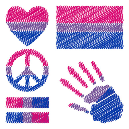 trans gender: Bisexual pride flag, heart, pacific sign, equality symbol and hand print for you design. Collection of gay culture symbols. Illustration