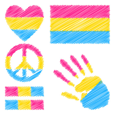 trans gender: Pansexual pride flag, heart, pacific sign, equality symbol and hand print for you design. Collection of gay culture symbols.