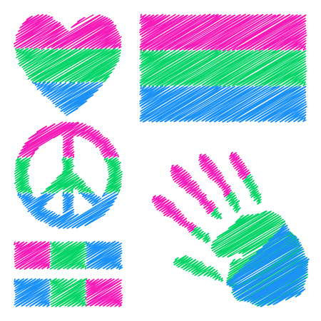trans gender: Polysexual pride flag, heart, pacific sign, equality symbol and hand print for you design. Collection of gay culture symbols.