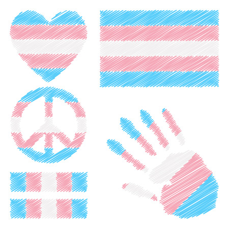 fetishes: Transgender pride flag, heart, pacific sign, equality symbol and hand print for you design. Collection of gay culture symbols.