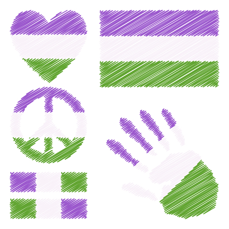 fetishes: Genderqueer pride flag, heart, pacific sign, equality symbol and hand print for you design. Collection of gay culture symbols. Illustration