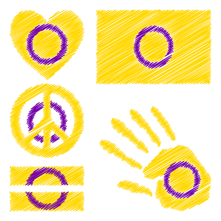 trans gender: Intersex pride flag, heart, pacific sign, equality symbol and hand print for you design. Collection of gay culture symbols.