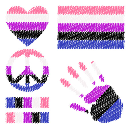 fetishes: Genderfluidpride flag, heart, pacific sign, equality symbol and hand print for you design. Collection of gay culture symbols. Illustration