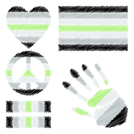 fetishes: Agender pride flag, heart, pacific sign, equality symbol and hand print for you design. Collection of gay culture symbols. Illustration