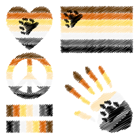 brotherhood: Bear Brotherhood pride flag, heart, pacific sign, equality symbol and hand print for you design. Collection of gay culture symbols. Illustration