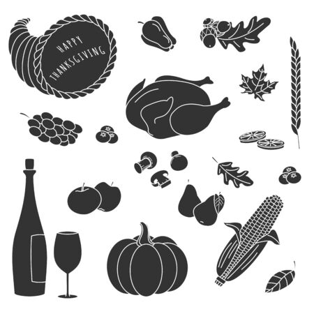 cornucopia: Conjunto de dibujados a mano elementos de la silueta de Acci�n de Gracias en el fondo blanco. Setas, lim�n, manzana, pavo, hoja, ma�z en la mazorca, pimiento, pera, ar�ndanos, uvas, cornucopia, vino, copa de vino.