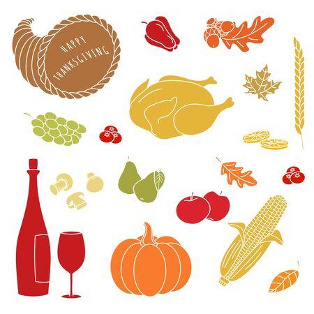 acorn: Set of hand drawn Thanksgiving colorful elements on white background. Mushrooms, lemon, apple, turkey, leaf, corn on the cob, pepper, pear, cranberries, grapes, cornucopia, wine, wine glass.