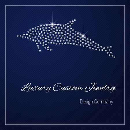 Shimmering diamond luxury dolphin. Glamour design element. Branding identity, logo design concept. Isolated high quality vector graphic. Clean, modern and elegant style design.