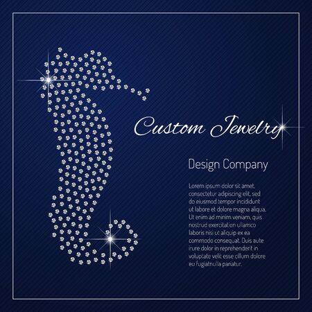 Shimmering diamond luxury Seahorse. Glamour design element. Branding identity, logo design concept. Isolated high quality vector graphic. Clean, modern and elegant style design.
