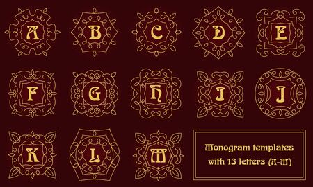 classic style: Set of monogram templates for business cards and invitations. Floral logo design elements. Classic ornamental abstract vector illustration. Emblem or badge in outline style.