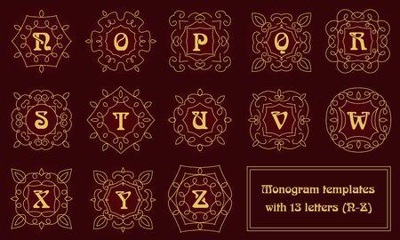 Set van monogram sjablonen voor visitekaartjes en uitnodigingen. Bloemen logo ontwerpelementen. Klassieke sier abstracte vector illustratie. Embleem of badge in overzichtstijl.