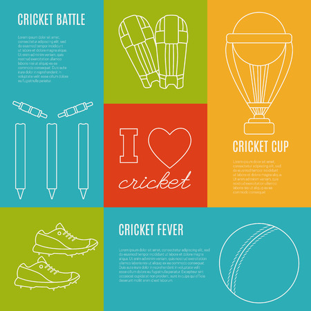 bails: Collection of cricket game banners with place for your text. Flat design illustration made in mono linear style. Unique, modern set isolated on background. Vector concept.