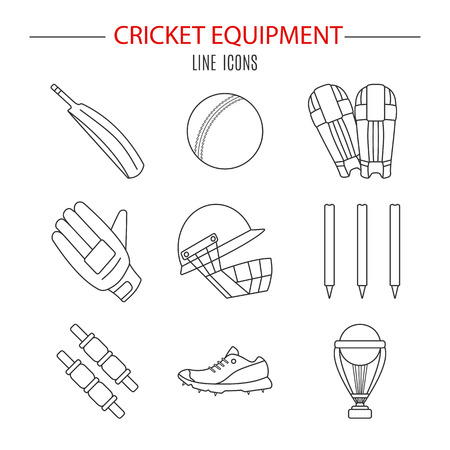 bails: Collection of cricket game equipment pictograms made in modern mono linear style. Professional sport concept and design elements for web sites, mobile and web applications. Vector concept. Illustration