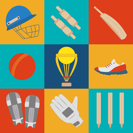 game equipment: Cricket game equipment, flat icons composition. Professional sport theme. Unique, modern set isolated on background. Vector concept. Illustration