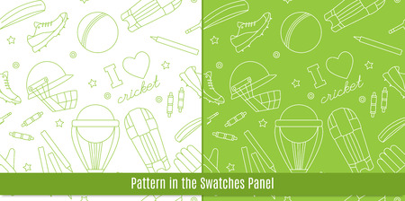 bails: Seamless pattern with cricket game equipment pictograms made in modern mono linear style. Professional sport concept and design elements for web sites, mobile and web applications. Vector concept.