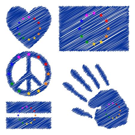 bandera gay: Bandera europea gay orgullo, coraz�n, signo pac�fico, s�mbolo igualdad y la impresi�n de la mano para que el dise�o. Colecci�n de s�mbolos de la cultura gay.