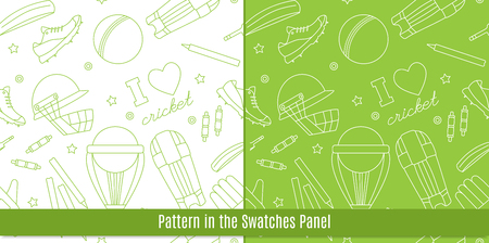 bails: Seamless pattern with cricket game equipment pictograms made in modern mono linear style. Professional sport concept and design elements for web sites, mobile and web applications.