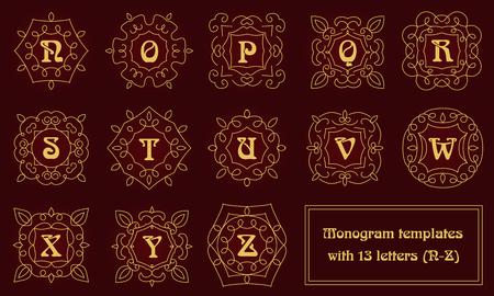 Set van monogram templates voor visitekaartjes en uitnodigingen. Bloemen logo design elementen. Classic sier abstracte vector illustratie. Emblem of badge op hoofdlijnen stijl.
