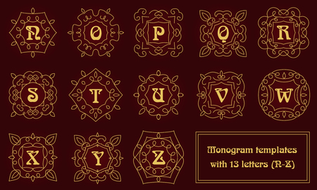 Set of monogram templates for business cards and invitations. Floral logo design elements. Classic ornamental abstract vector illustration. Emblem or badge in outline style.