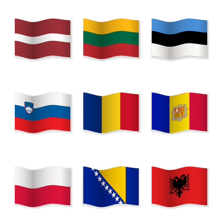 Waving flags of different countries. Flag icons on white background. Vector content. 3D waving position with shadow. Each flag is isolated on its own layer with the proper name. Set – 8.