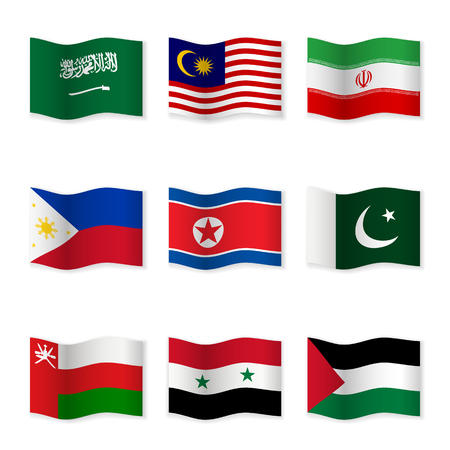 Waving flags of different countries. Flag icons on white background. Vector content. 3D waving position with shadow. Each flag is isolated on its own layer with the proper name. Set – 5.
