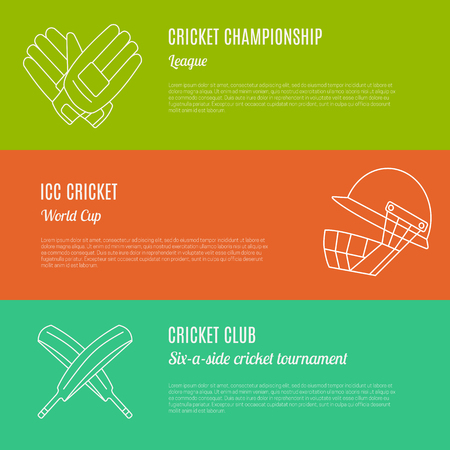cricketer: Collection of cricket game banners with place for your text. Flat design illustration made in mono linear style. Unique, modern set isolated on background. Vector concept.