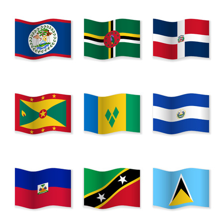 Waving flags of different countries. Flag icons on white background. 3D waving position with shadow. Each flag is isolated on its own layer with the proper name. Illustration