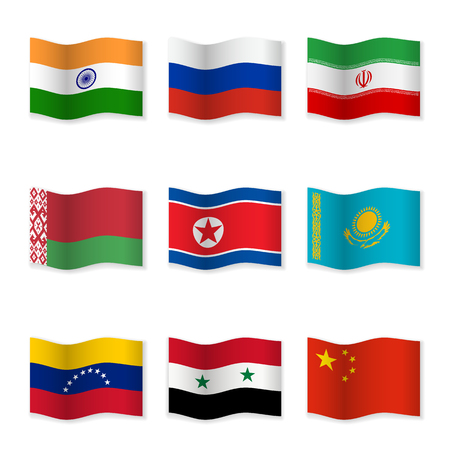 Waving flags of Russian ally countries. Flag icons on white background. 3D waving position with shadow. Each flag is isolated on its own layer with the proper name.