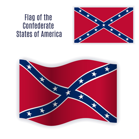 rebel flag: Flag of the Confederate States of America with correct color scheme, both still and waving. Isolated elements on white background.