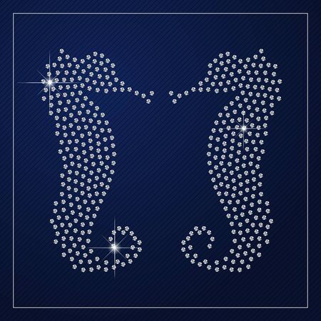 glamorous couple: Shimmering diamond luxury seahorses. Glamour design element. Branding identity, design concept. Isolated high quality graphic. Clean, modern and elegant style design.
